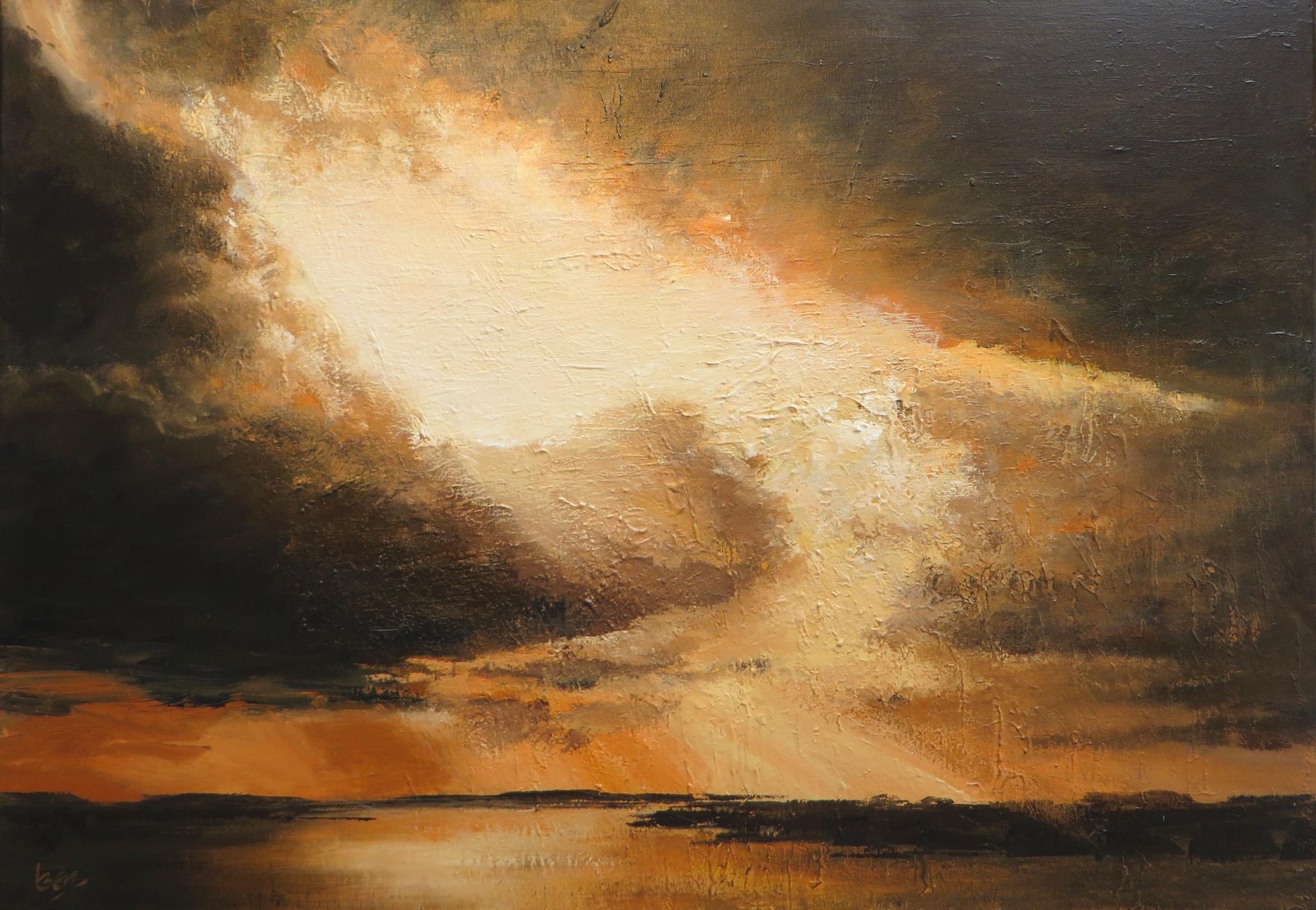 Lucht boven lauwersmeer 70x100 acryl op doek