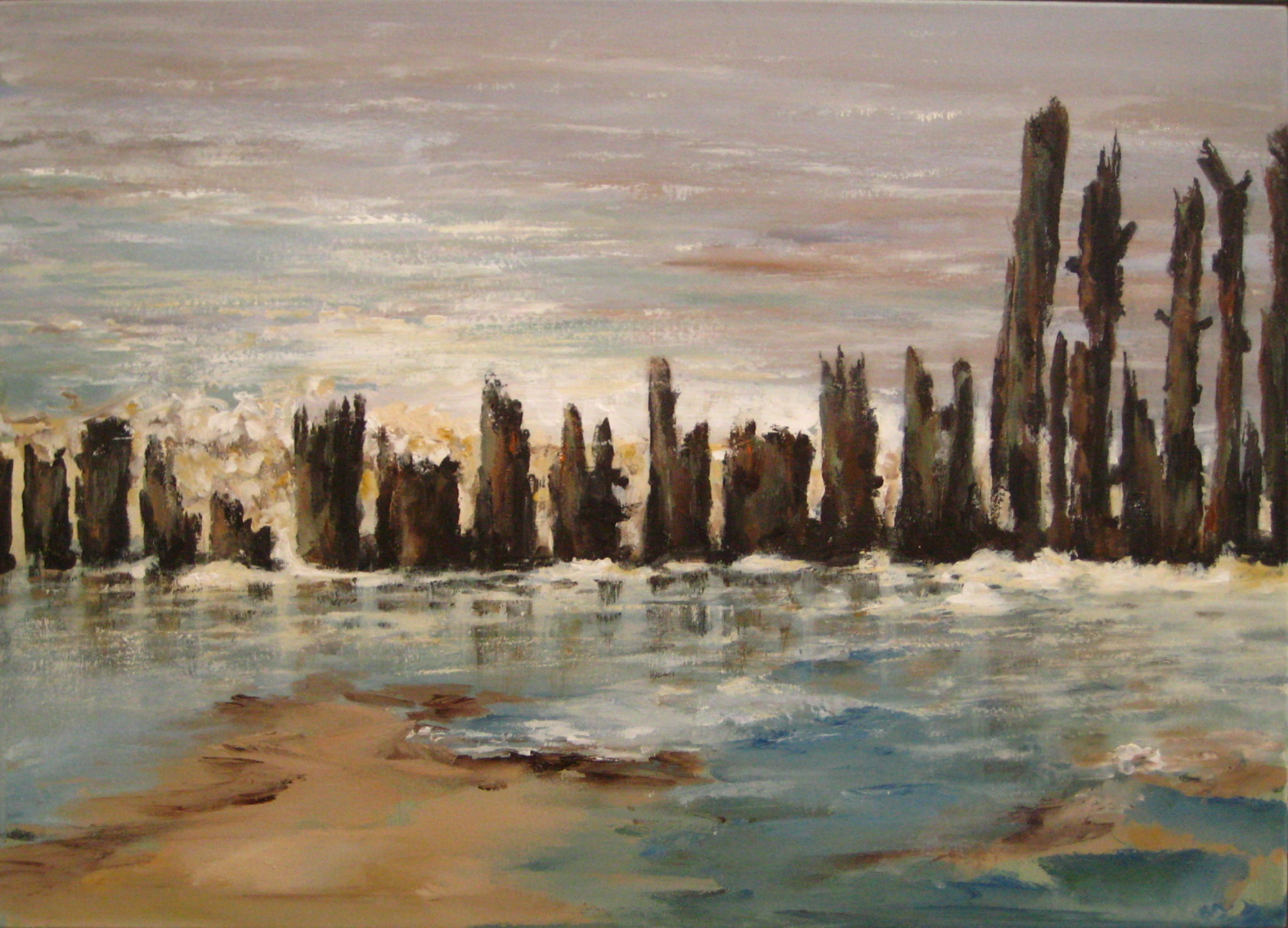palen in het wad 50x70cm acryl op doek 2010