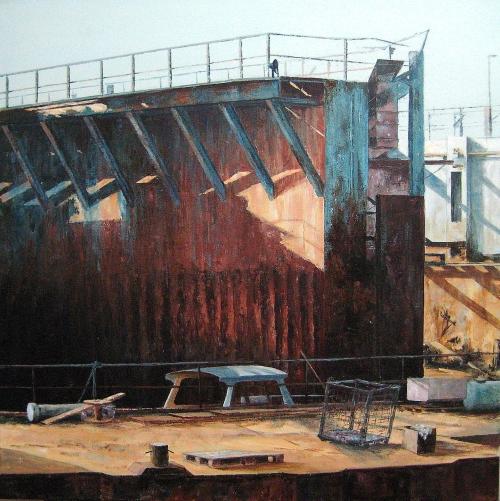 droogdok 3 lauwersoog 80x80 acryl op doek 2009