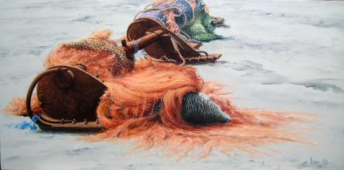visnetten lauwersoog 50x100 acryl op doek 2009