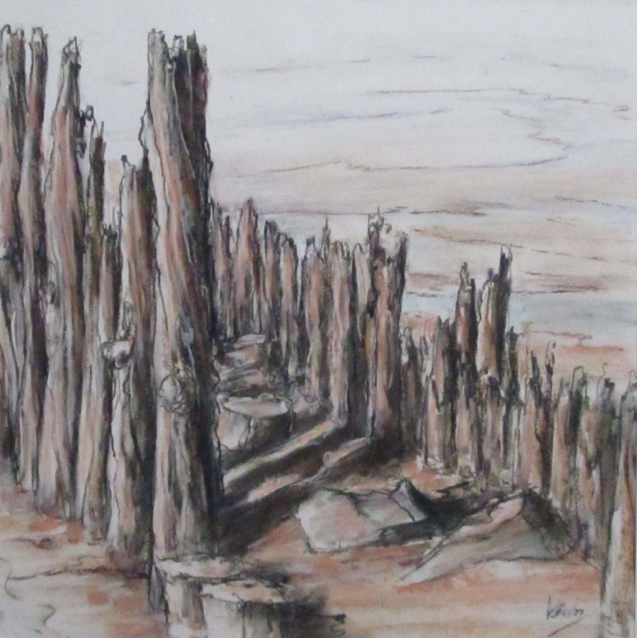 palen in het wad 50x50 cm pastel