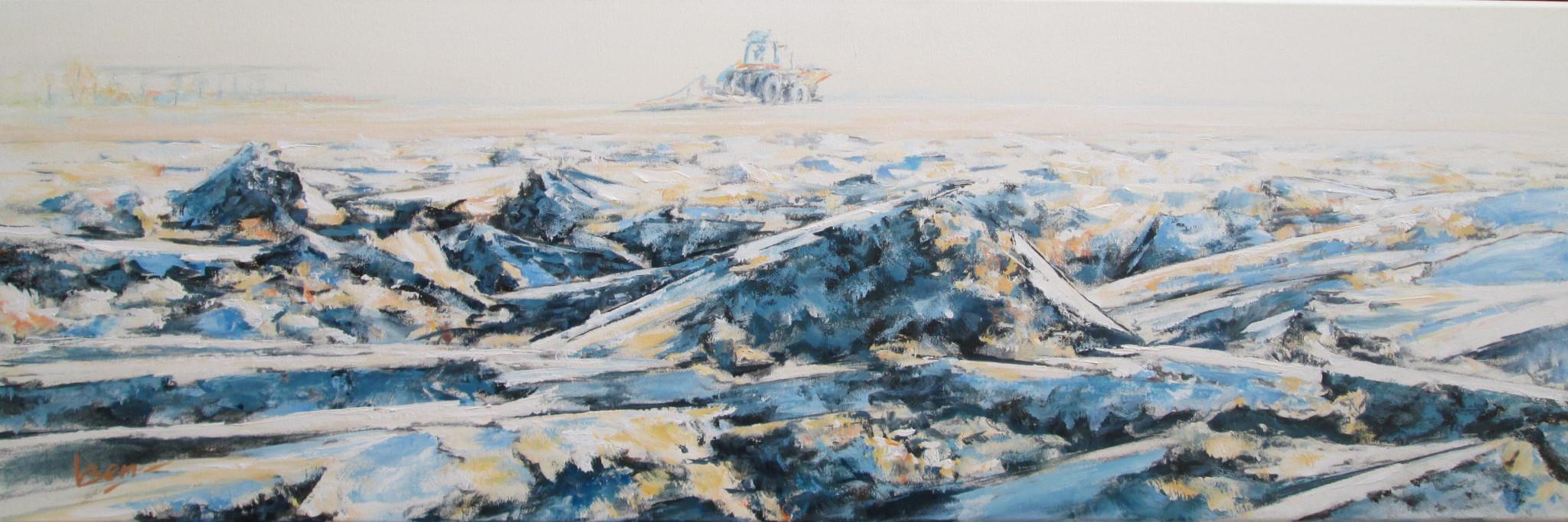 Geploegd acryl op doek 40x120 cm