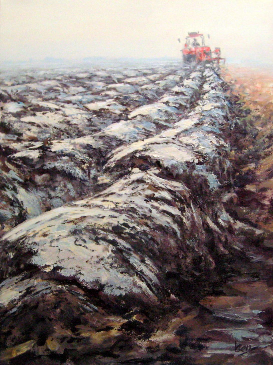 ploegen 60x80cm acryl op doek